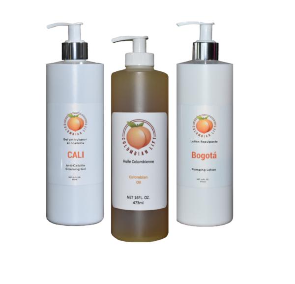 Kit Crème Anti Cellulite, Huile de Massage & Répulpante
